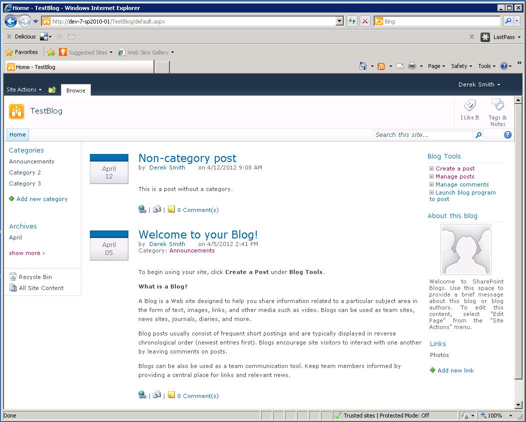 sharepoint blog site template